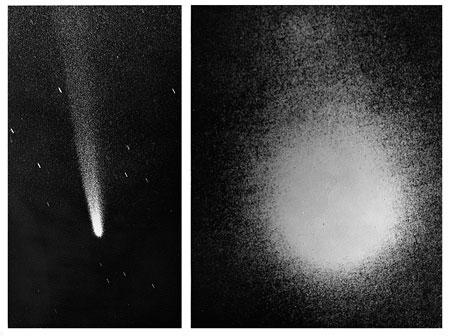 Na sliki je komet Kohoutek iz leta 1973. Levo je posnetek v vidni svetlobi, desno pa v ozkem ultravijoličnem spektralnem pasu Lymanove α serije, ki nam razkriva ogromen vodikov oblak. Sliki sta v istem merilu.