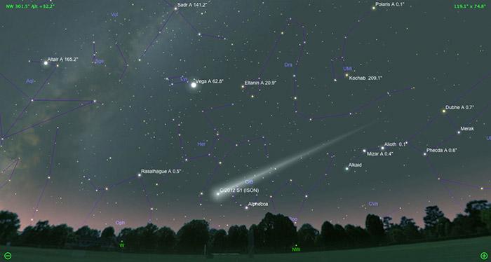 Komet ISON na jutranjem nebu