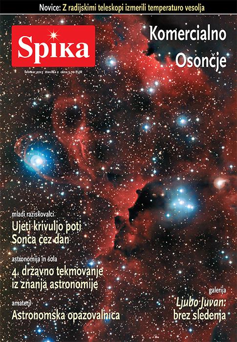 Naslovnica astronomske revije Spika februar 2013