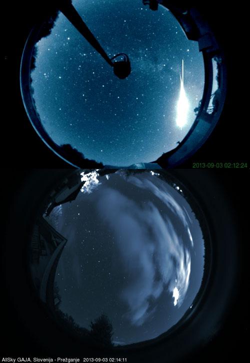 Zelo svetel bolid sta 3. septembra 2013 zabeležili dve Slovenski vsenebni kameri.