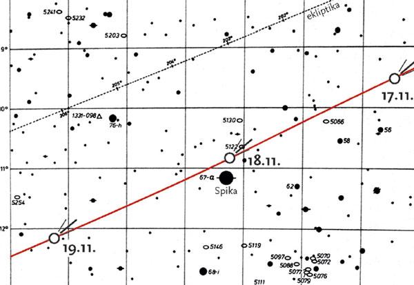 Karta - komet ISON november