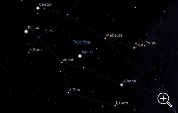 Jupiter najdemo v ozvezdju Dvojčka.