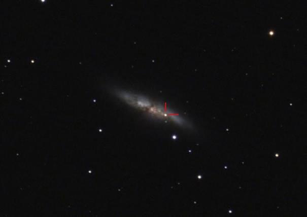 Svetla supernova, ki so jo posneli člani Društva Temno nebo Slovenije.