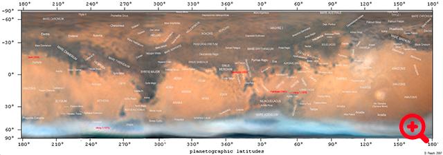 Karta Marsa z označenimi površinskimi značilnostmi.