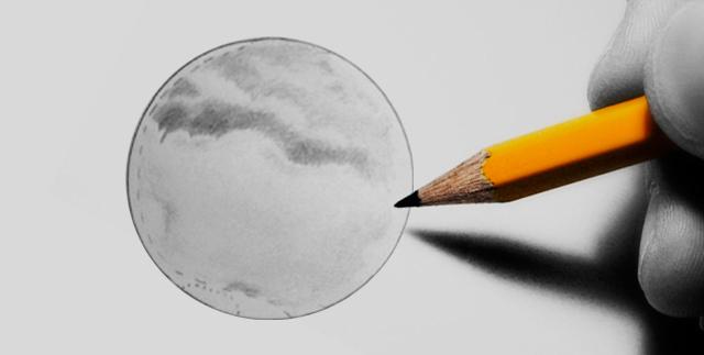 Planet Mars med opazovanjem lahko skiciramo na papir.