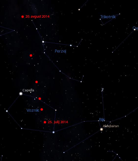 Pot kometa E2 Jacques na jutranjem nebu