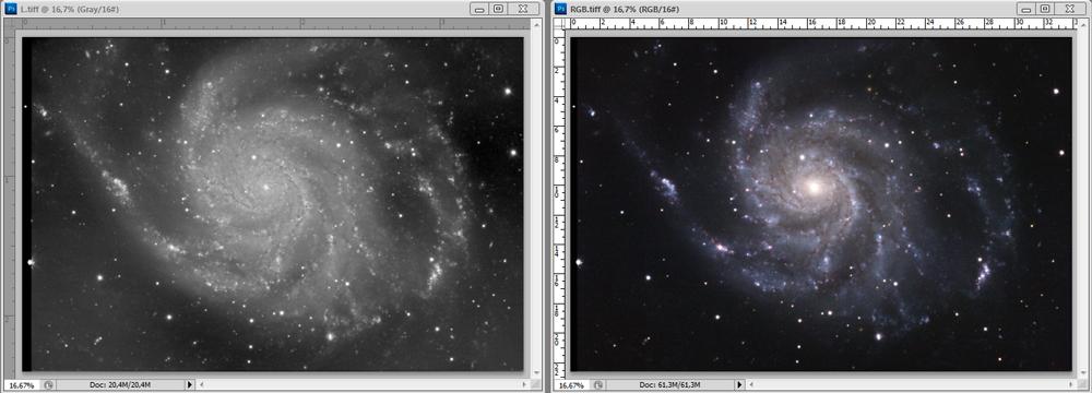 L in RGB fotografija galaksije M101