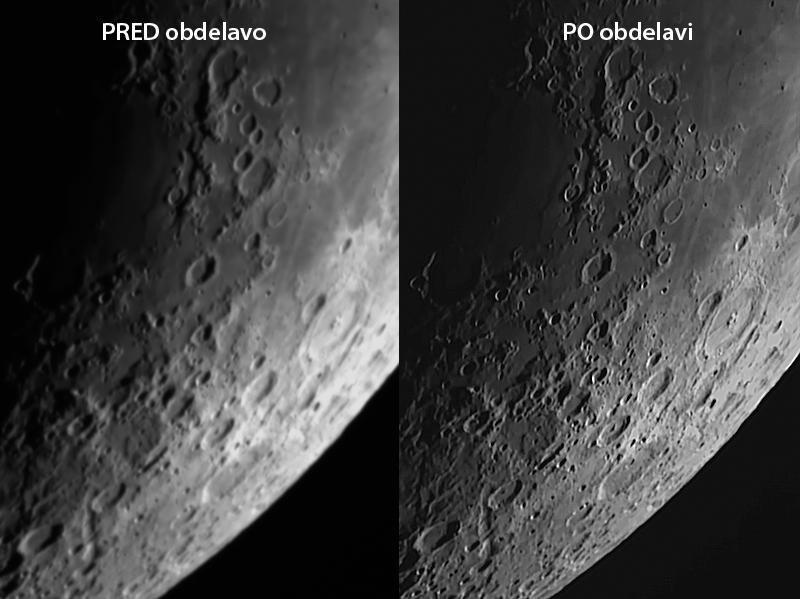 Fotografija Lune pred in po obdelavi s programom RegiStax