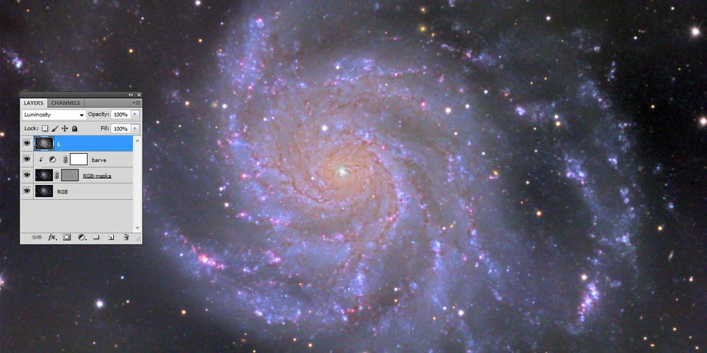 Obdelava barv pri galaksiji M101
