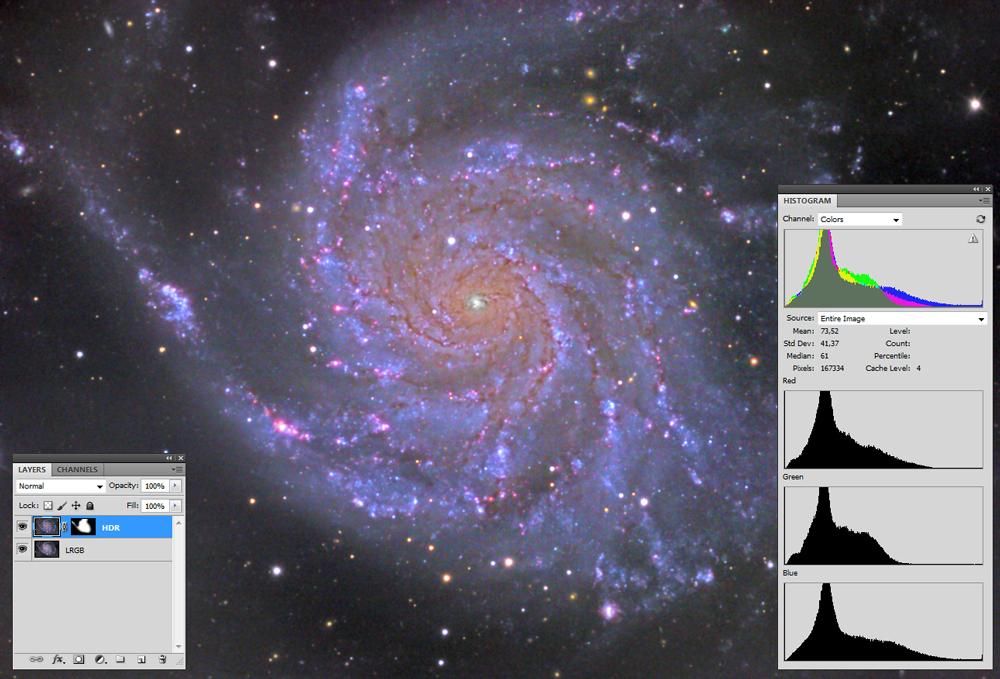 Finalna obdelava CCD fotografije galaksije M101