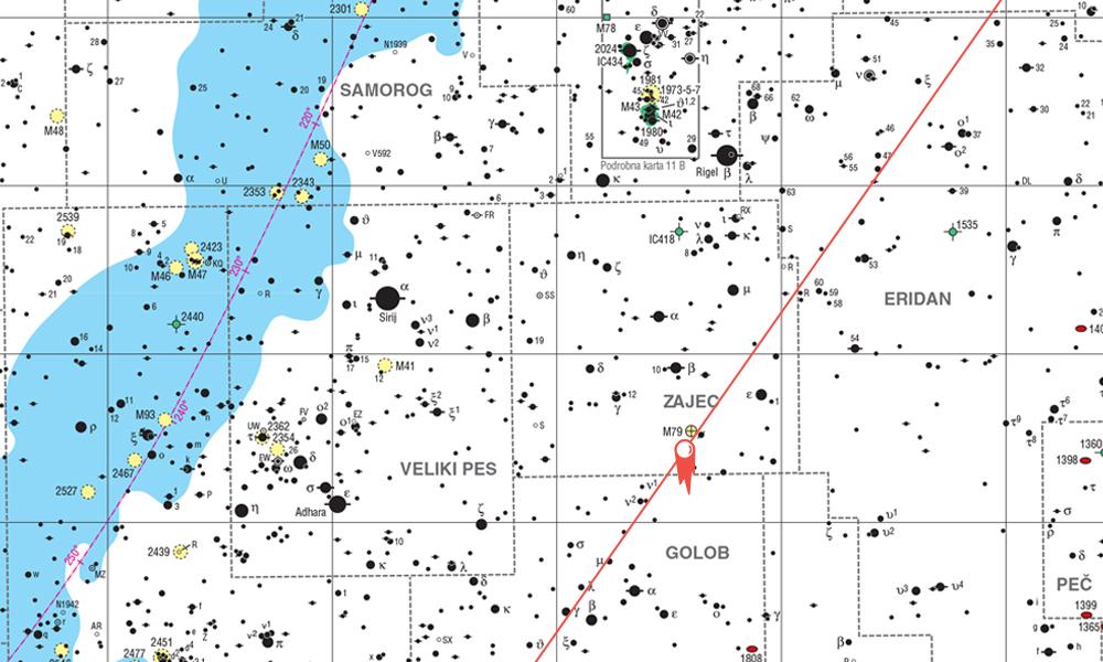 Karta za iskanje kometa Q2 Lovejoy na nebu za mesec december in januar
