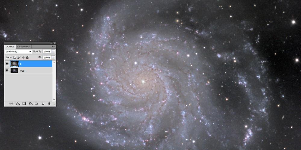 Združena L in RGB fotografija galaksije M101