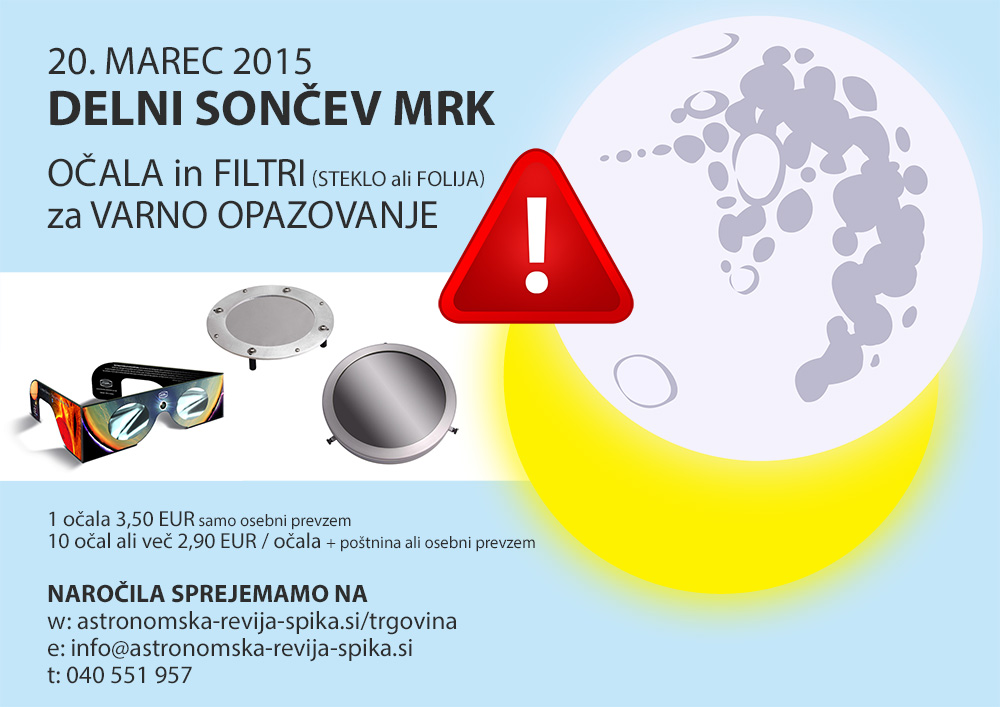 Filtri in očala za varno opazovanje Sončnega mrka