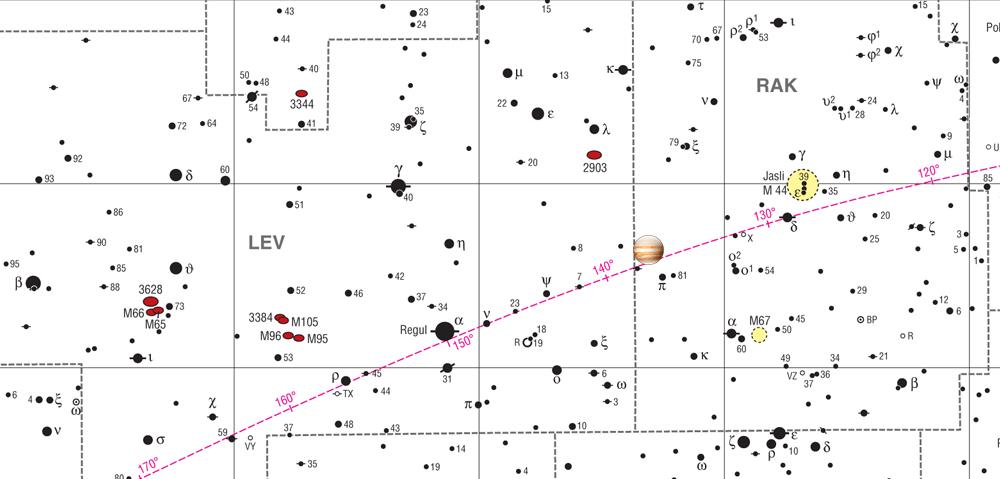 Karta prikazuje kako najdem planet Jupiter na nebu?