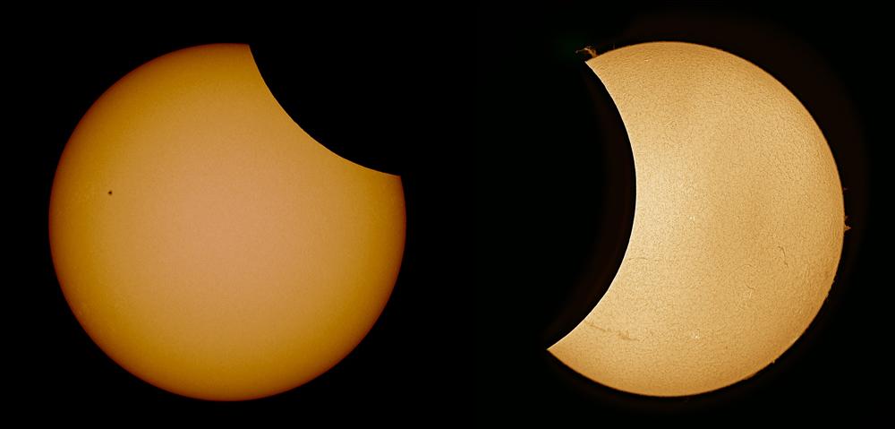 Sonce v vidni in H-alpha svetlobi.