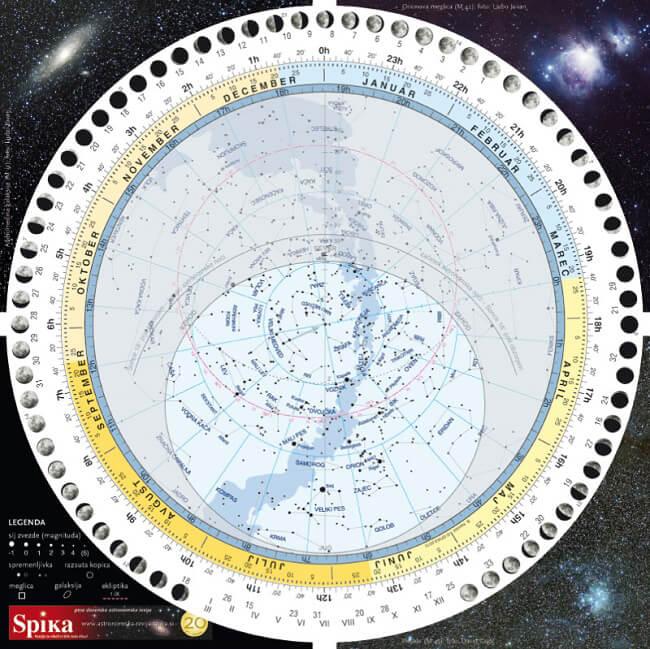 Plastificirana izboljšana Spikina vrtljiva zvezdna karta je praktičen pripomoček za začetnike in za izkušene astronome amaterje.