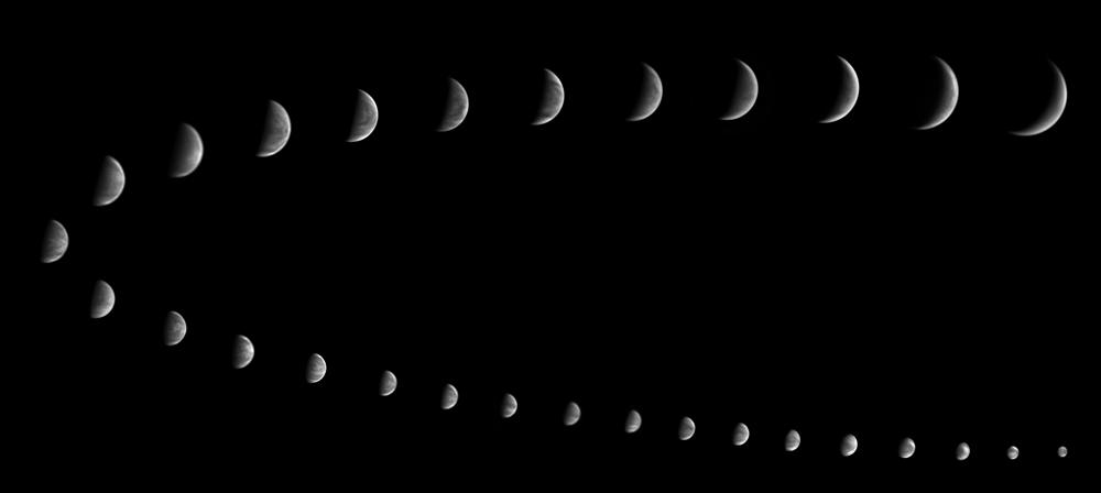 Venerine mene skozi fotografirane z 30-cm teleskopom, planetarno kamero in UV kamero.