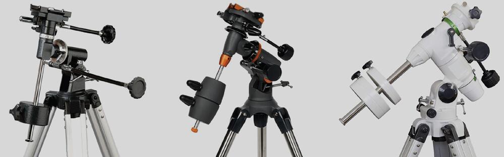 Tri ekvatorialne montaže teleskopa: majava, solidna in odlična. V tem vrstnem redu seveda narašča tudi cena.