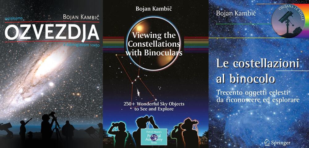 Raziskujmo OZVEZDJA z daljnogledom 10×50, slovenskega avtorja in urednika astronomske revije Spika Bojana Kambiča.