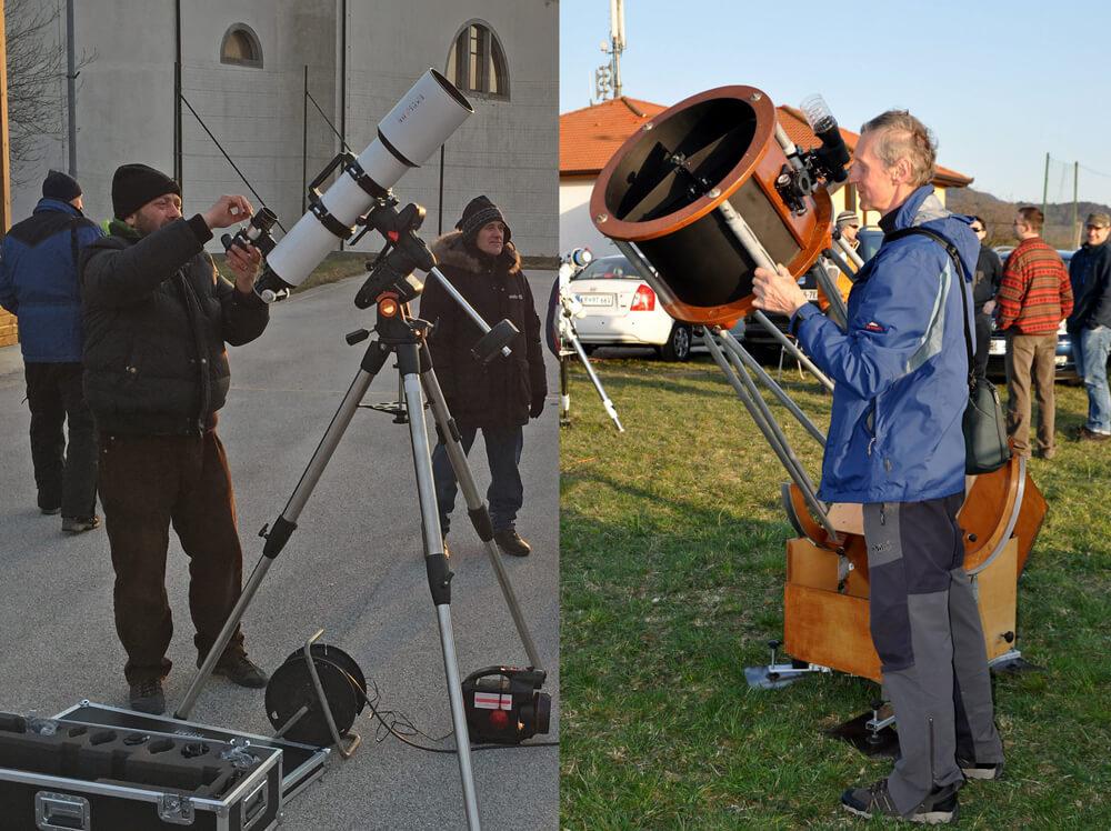 Pri refraktorju je objektiv spredaj, na vrhu optične cevi in je zbiralna leča oziroma lečje, pri reflektorju pa je objektiv na dnu cevi in je zbiralno zrcalo.