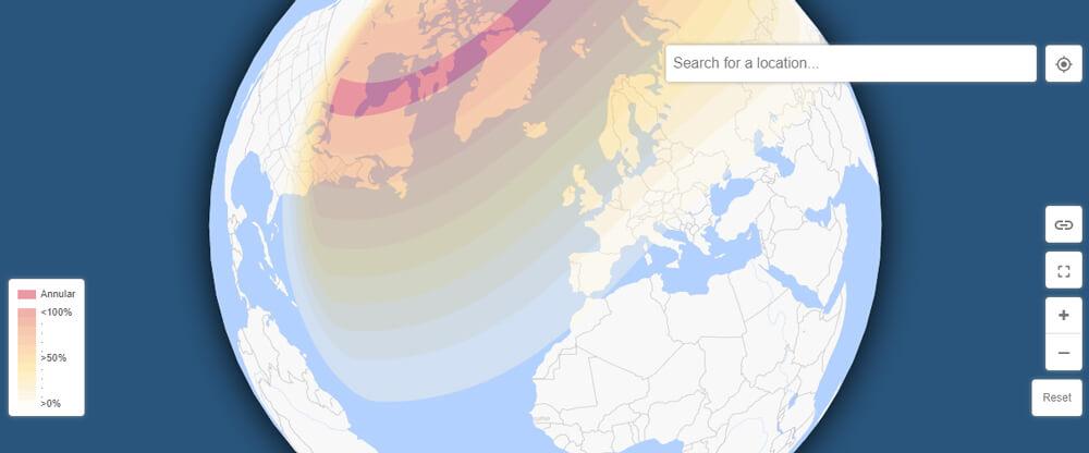 Takole bodo Sončev mrk videli po svetu. Slovenija je čisto spodaj na robu vidnosti zakritja. V