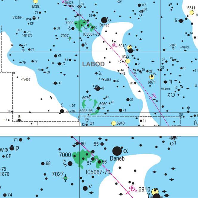 Meglica Severna Amerika leži približno tri stopinje vzhodno od Deneba, najsvetlejše zvezde v čudovitem poletnem ozvezdju Labod in ene od treh, ki tvorijo Poletni trikotnik.