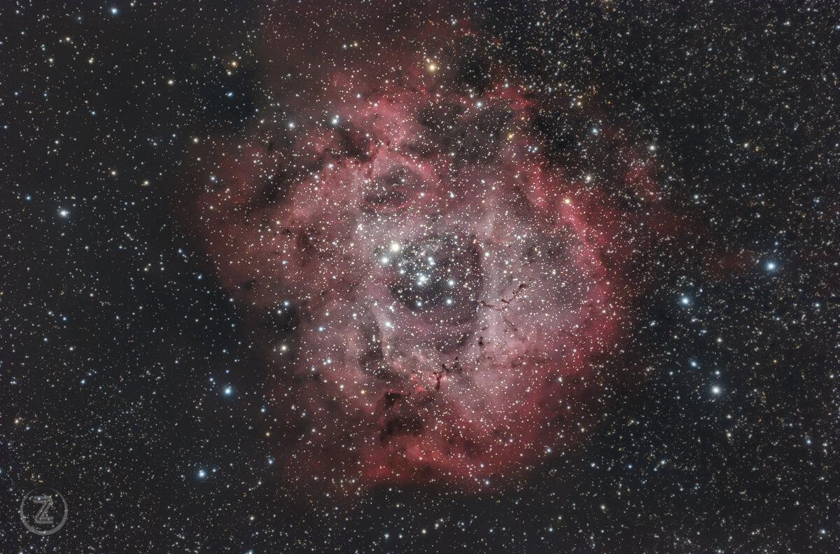 Emisijska meglica Rozeta v ozvezdju Samoroga ovija zvezde razsute kopice NGC 2244.
